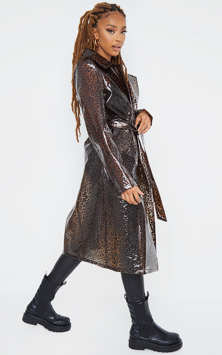 Brown Leopard Print Trench 4