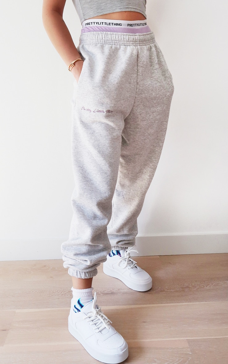 PRETTYLITTLETHING Ash Grey Embroidered Joggers 2