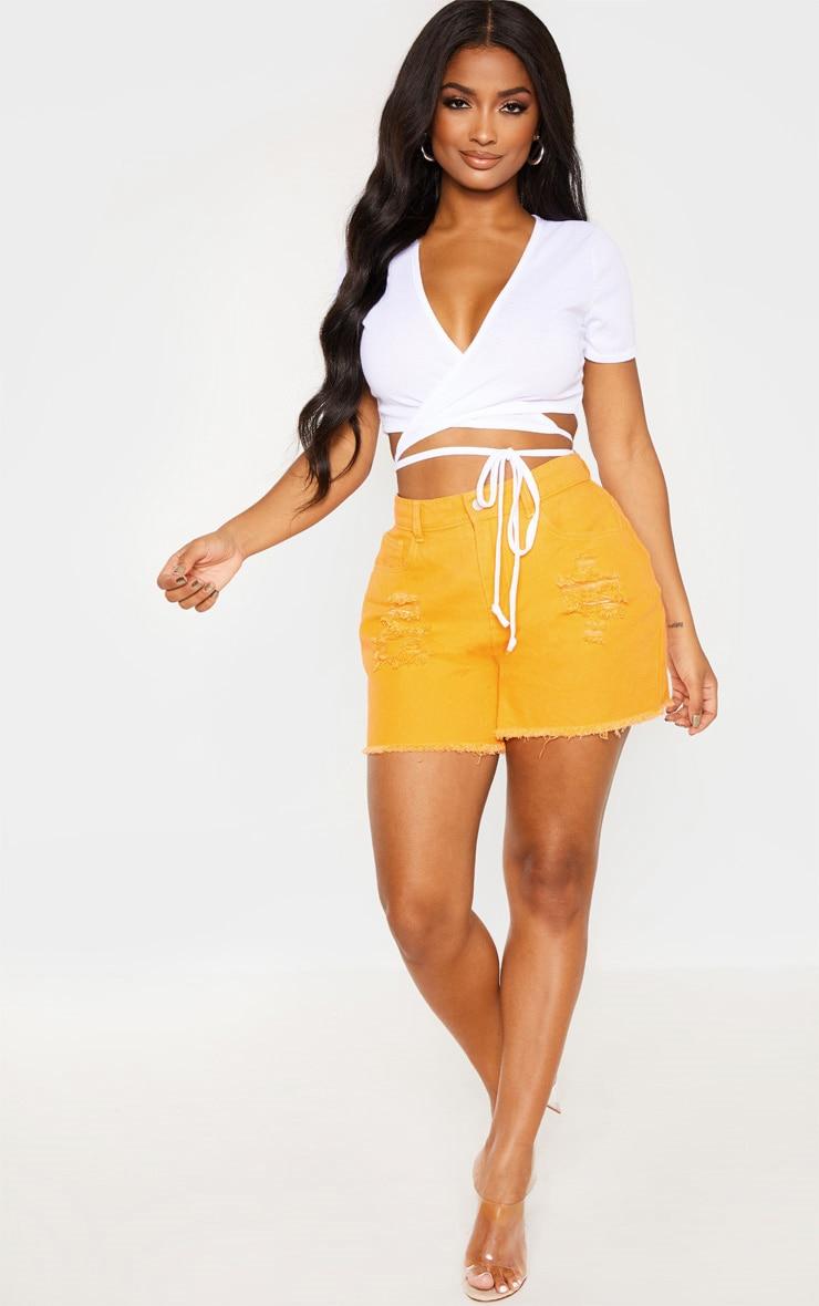 Shape Orange Bum Rip Denim Shorts 5