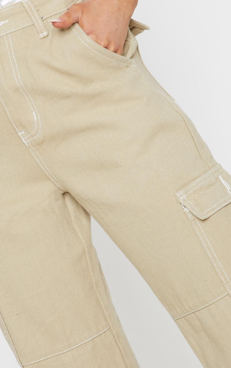 Beige Contrast Stitch Wide Leg Cargo Jeans 5