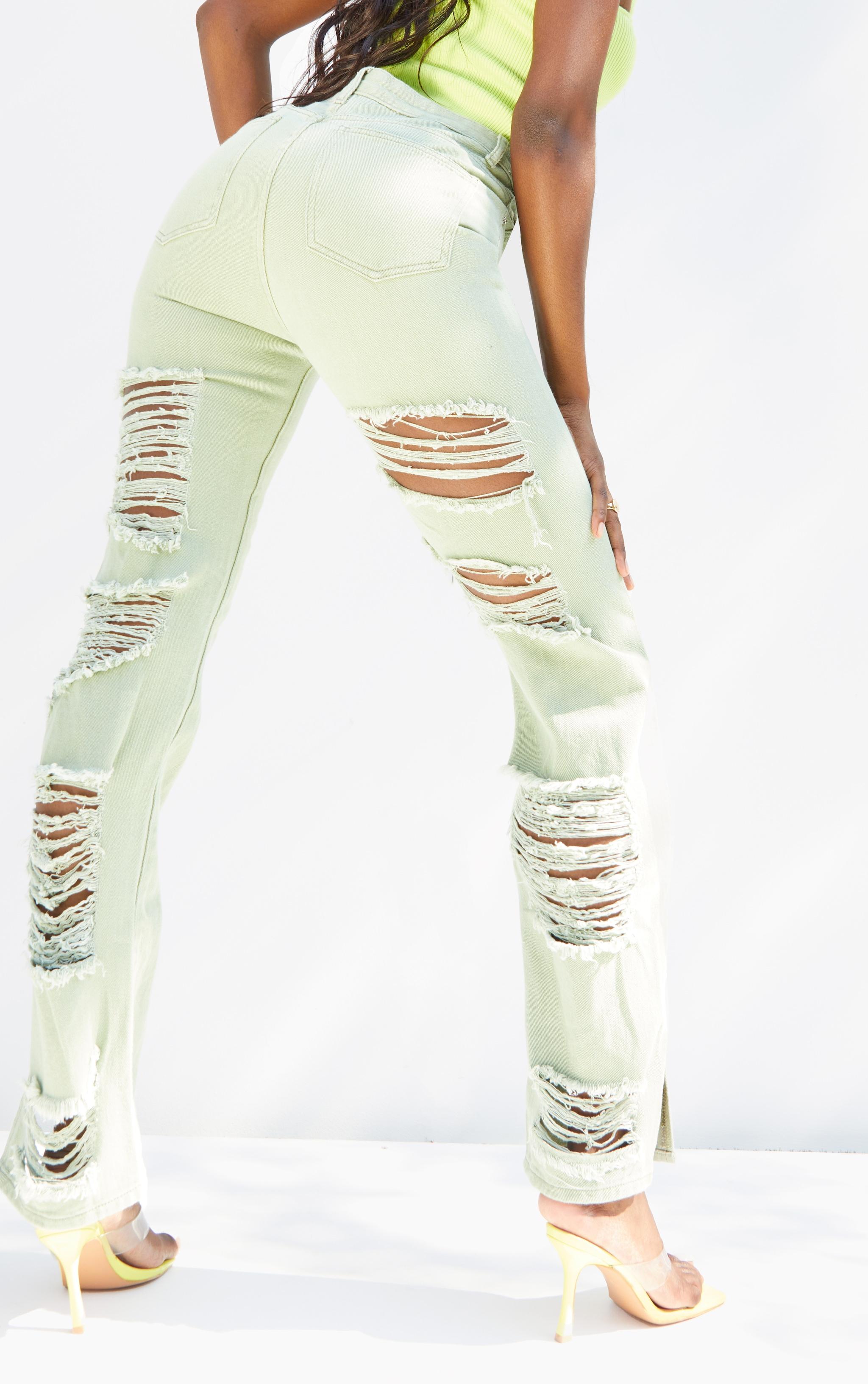 Tall Sage Green Wash Ripped Back Split Hem Jeans 4