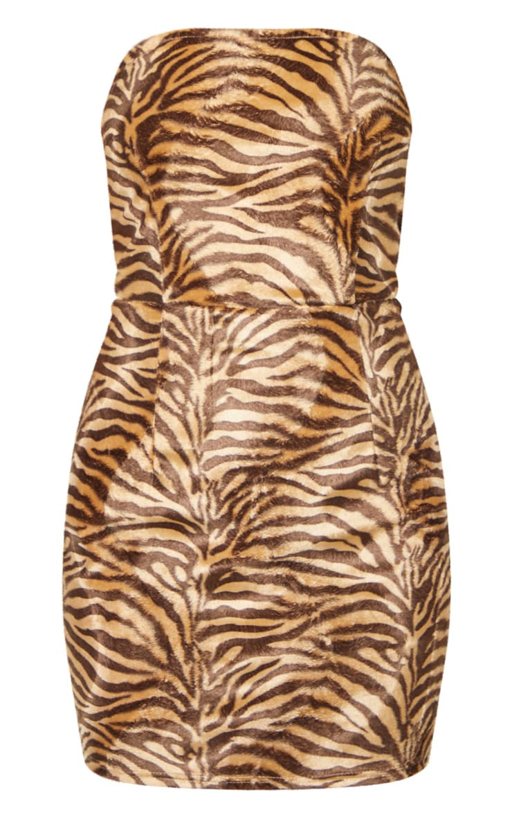 Tan Brushed Velvet Tiger Bandeau Bodycon Dress 4