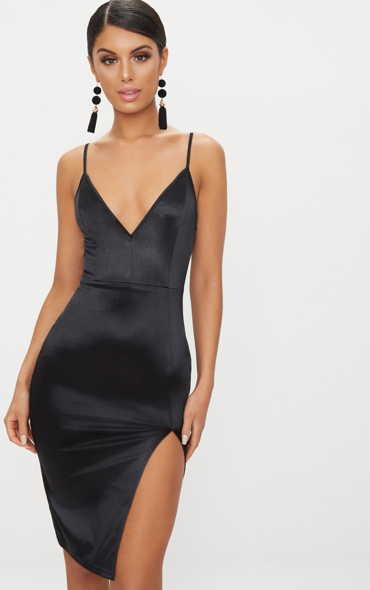Black Satin Extreme Split Plunge Midi Dress 1