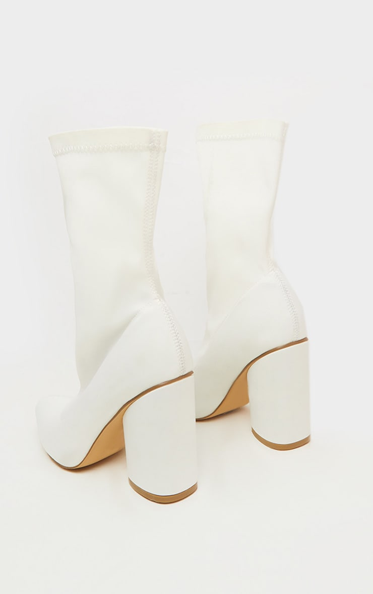 White Chunky Block Heel Sock Boot 4