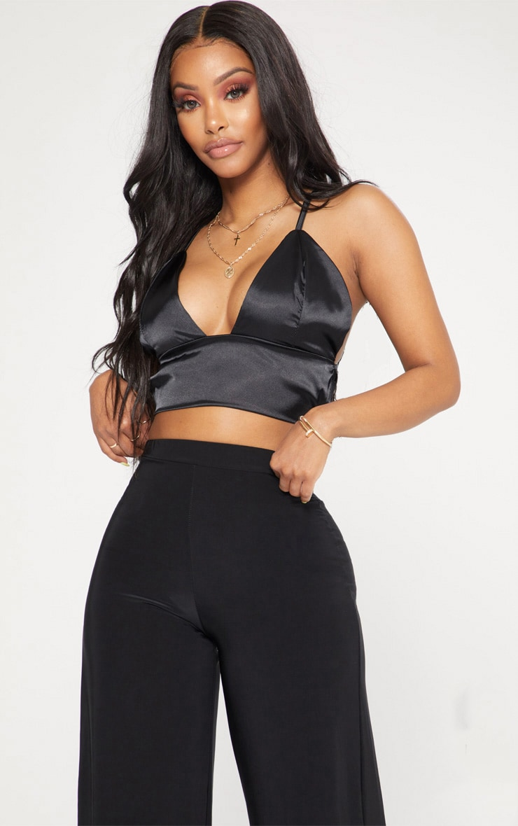 Shape Black Satin Bralet  1