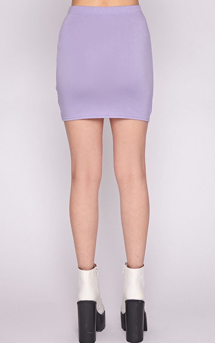Clarissa Lilac Bodycon Jersey Mini Skirt 2