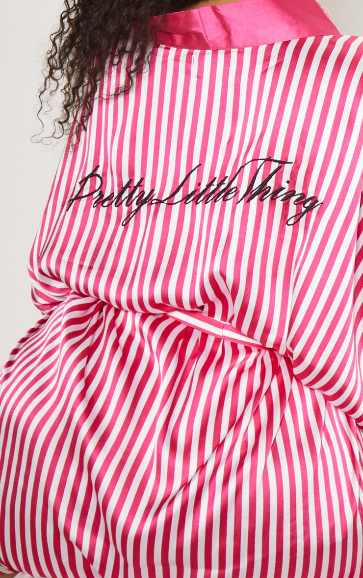PRETTYLITTLETHING Plus Fuchsia Striped Satin Robe 6