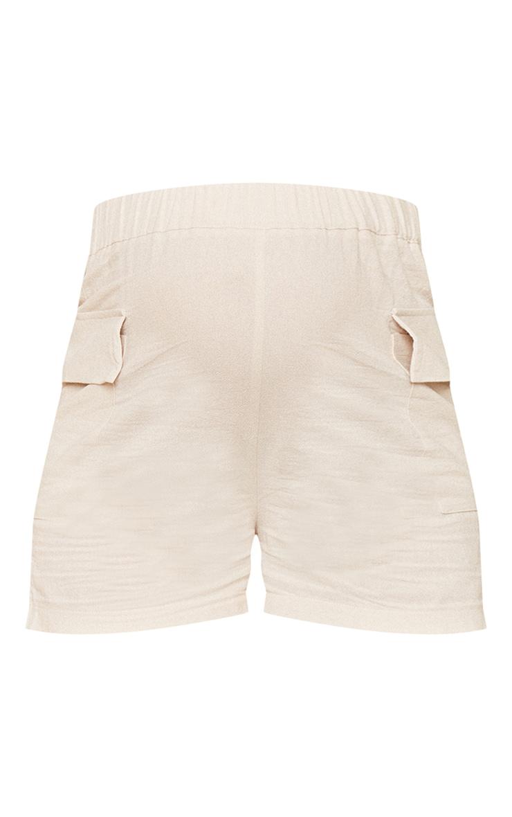 Maternity Stone Linen Look Pocket Detail Shorts 6