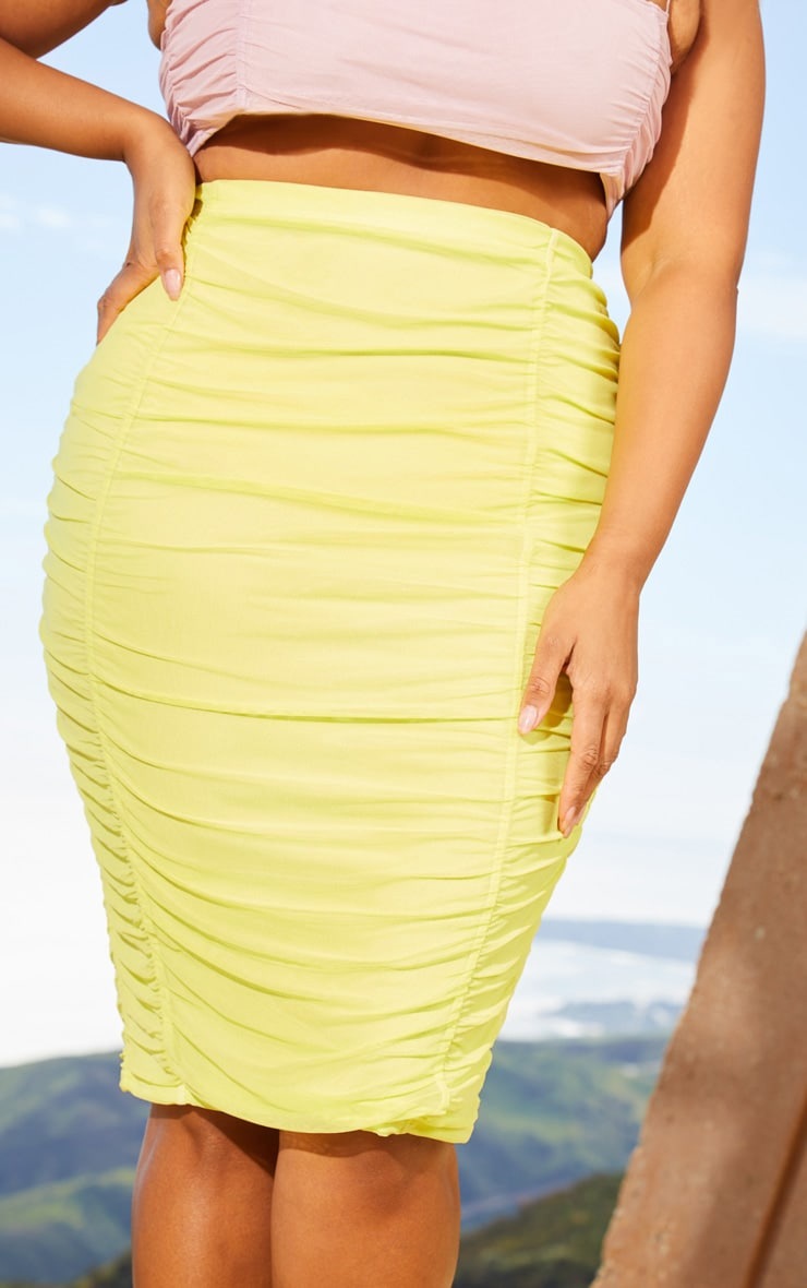 Plus Lime Second Skin Ruched Mesh Midi Skirt 5