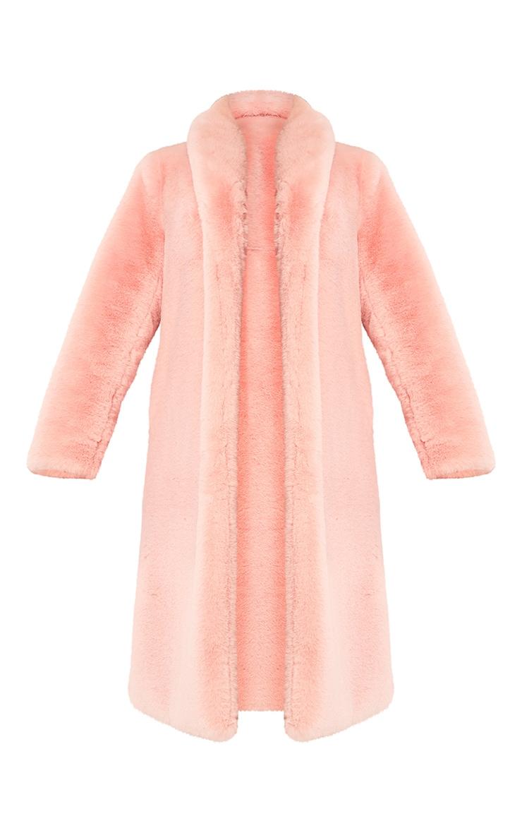 Pink Premium Maxi Oversized Faux Fur Coat 5