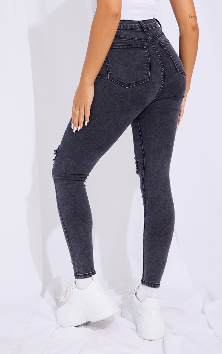 PRETTYLITTLETHING Acid Black Double Rip 5 Pocket Skinny Jeans 3