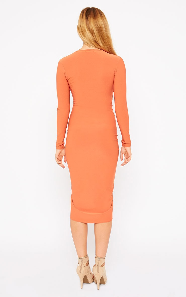 Zoey Rust Ruched Midi Dress 2