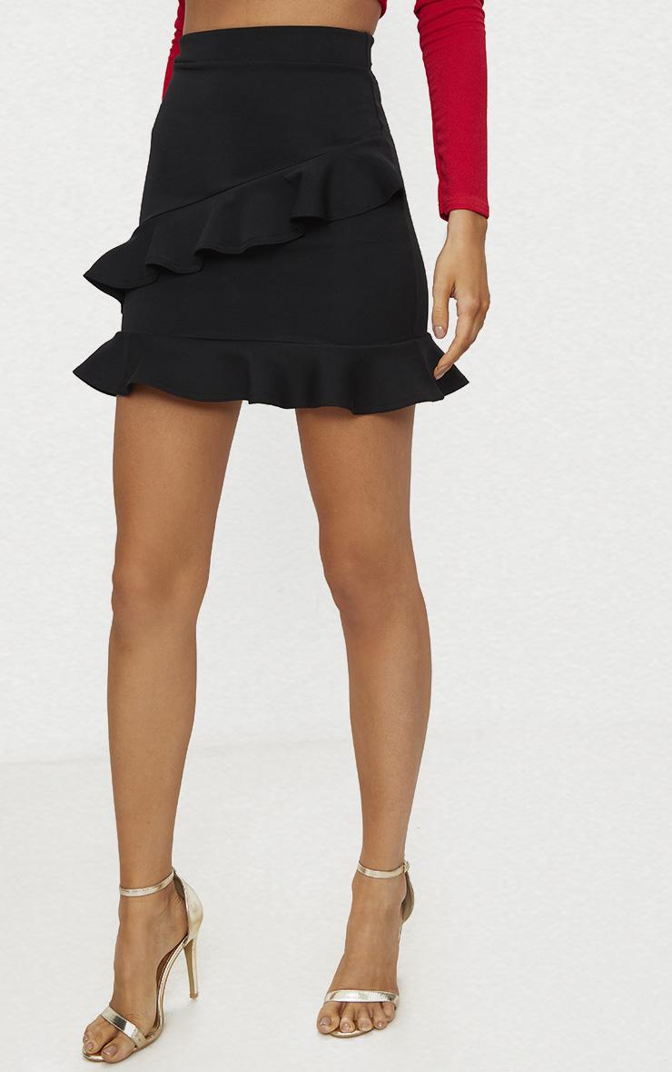 Black Scuba Double Frill Mini Skirt 2