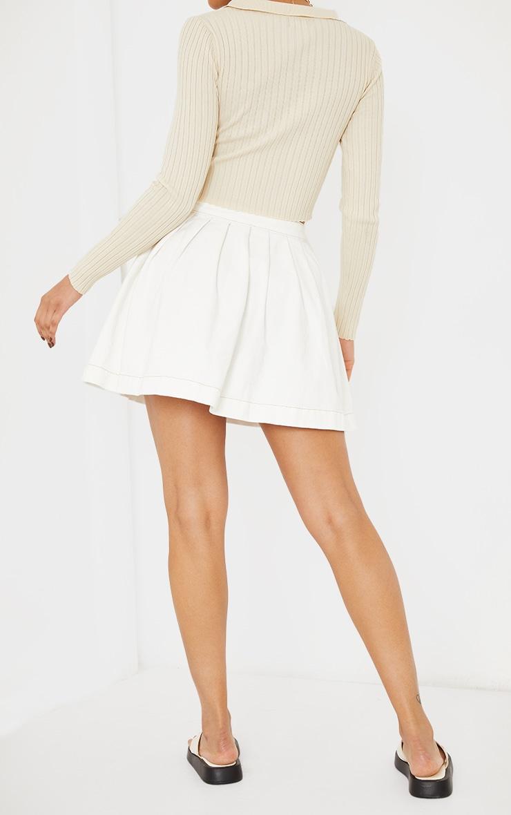 White Ecru Stitch Denim Tennis Skirt 3