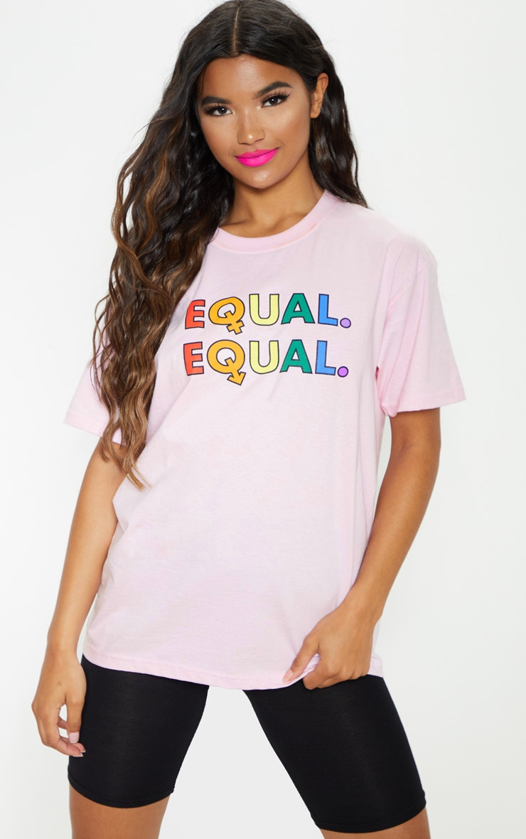 UNISEX Pink EQUAL Oversized T-shirt  2