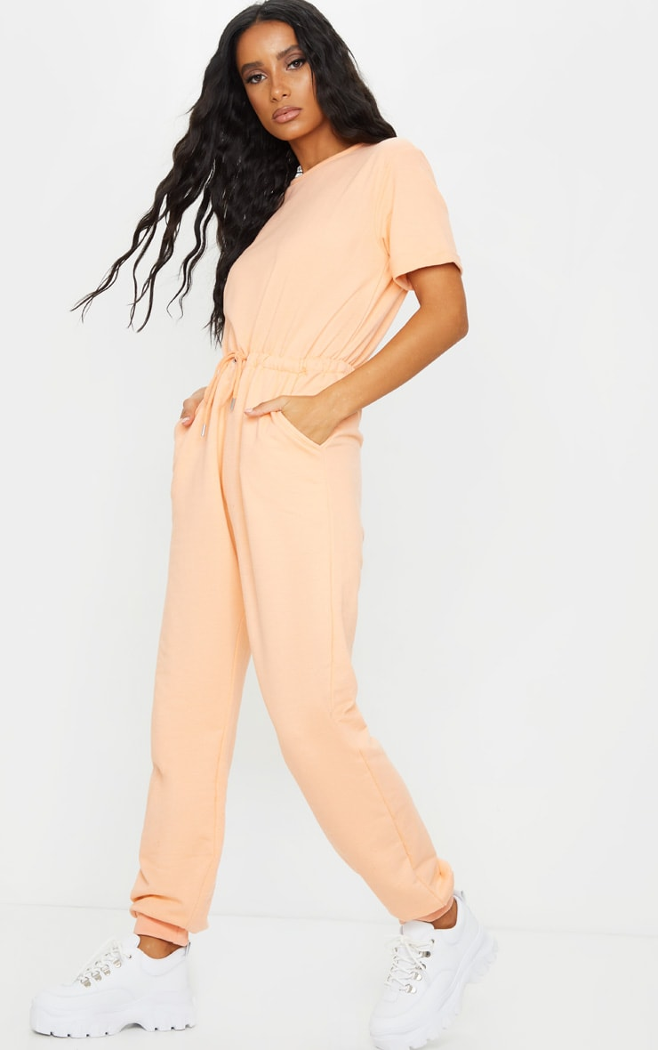 Peach Short Sleeve Sweat Jumpsuit 3