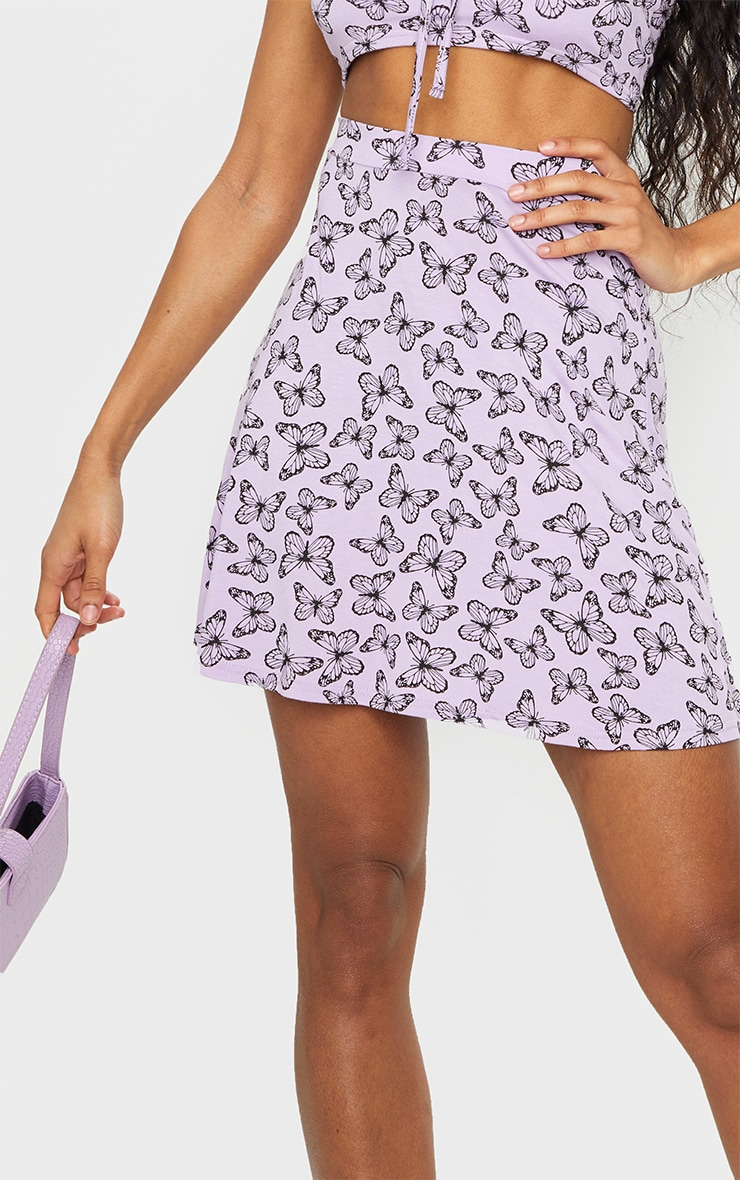 Purple Butterfly Print Floral Skater Skirt 5