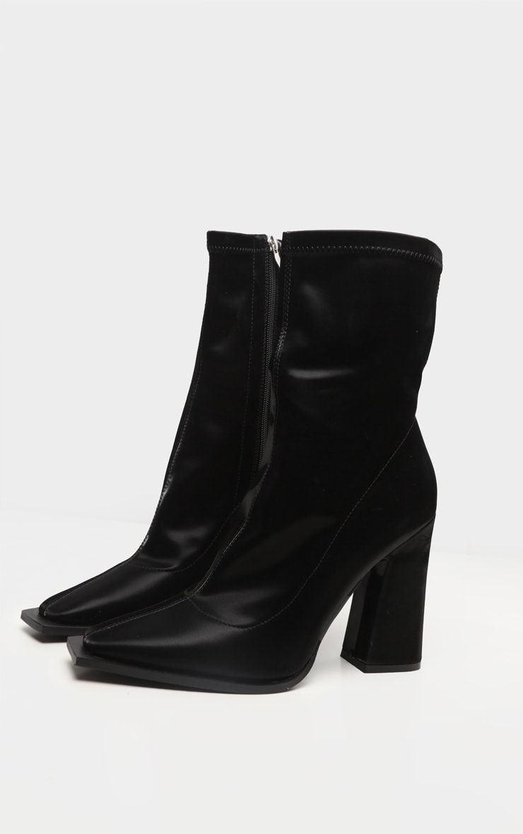 Black Square Toe Block Heel Ankle Sock Boot 4