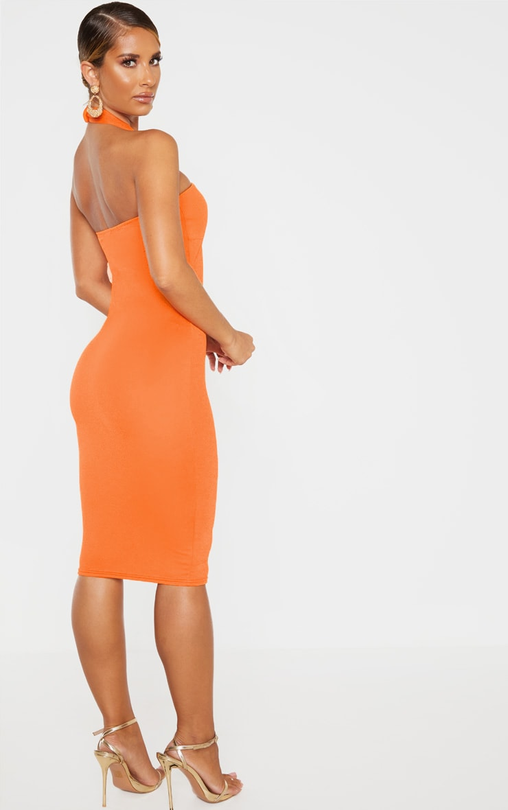 Bright Orange Twist Front Halterneck Bodycon Dress  2