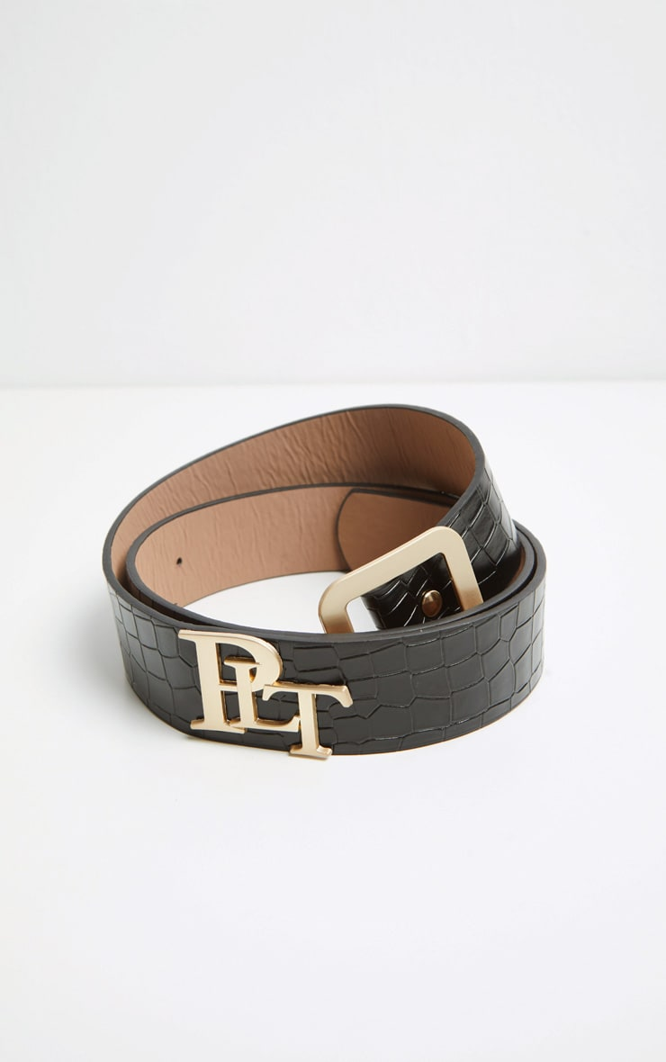 PRETTYLITTLETHING Logo Buckle Black Croc Belt 5