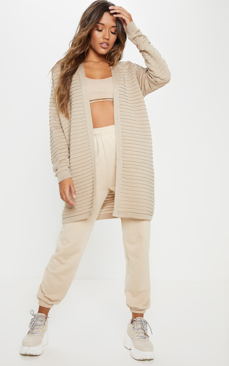 Stone Chunky Ribbed Knitted Cardigan 4