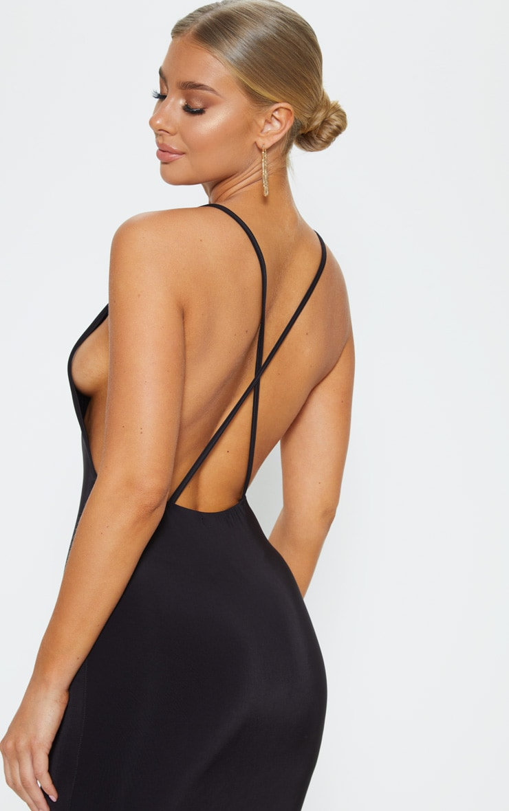 Black Strappy Slinky Cross Back Midi Dress 5
