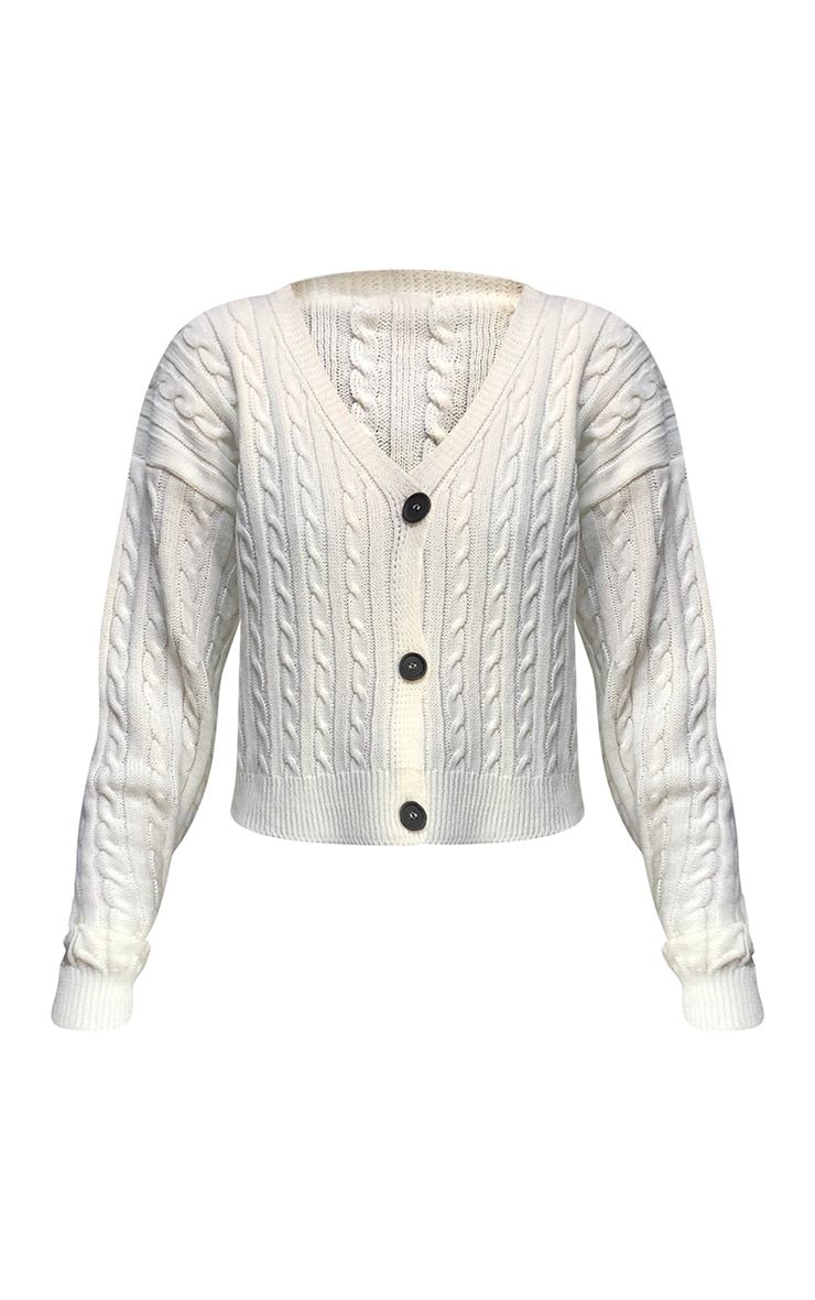 Cream All Over Cable Knitted Cropped Cardigan 5