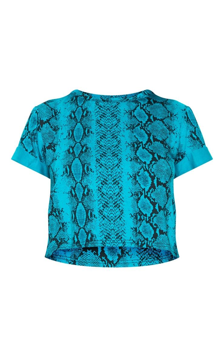 Basic Teal Snake Roll Sleeve Crop T Shirt 3