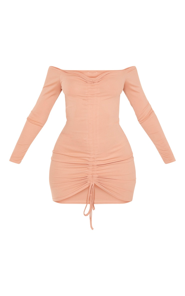 Chestnut Ribbed Long Sleeve Bardot Ruched Bodycon Dress 3