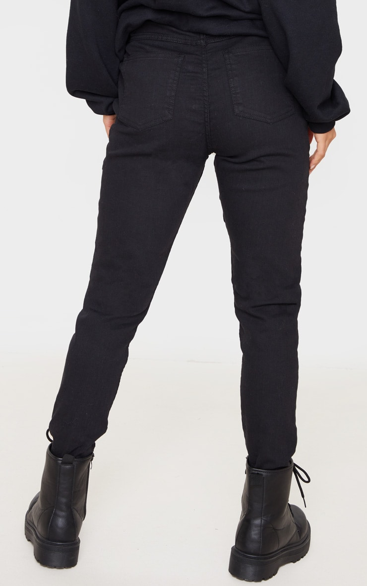 Petite Black Skinny Button Front Denim Jean 4