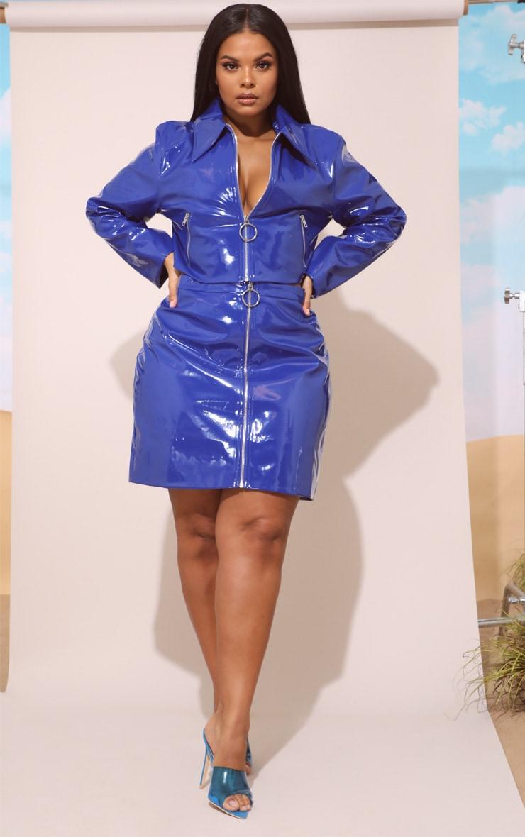 Plus Cobalt Vinyl Zip Front Mini Skirt 5