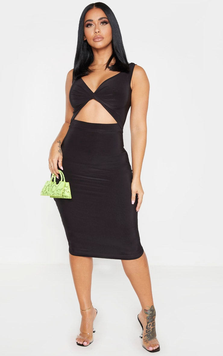Shape Black Twist Front Cut Out Midi Dress 3