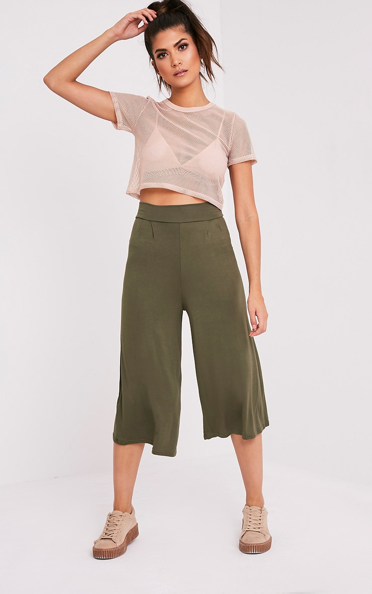 Basic jupe-culotte kaki 1
