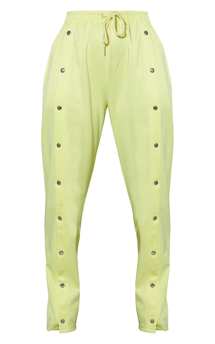 Pale Yellow Popper Front Track Joggers 5