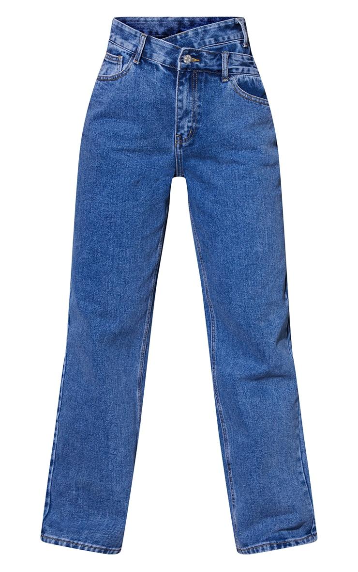 Light Blue Wash Asymmetric Waistband Boyfriend Jeans 5