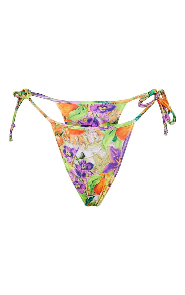 Purple Floral Fruit Tie Side Bikini Bottom 5