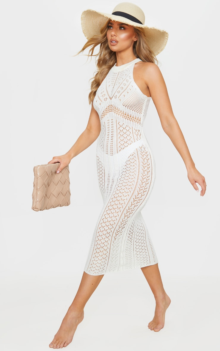 Cream Cut Out Detail Crochet Knit Midi Dress 3