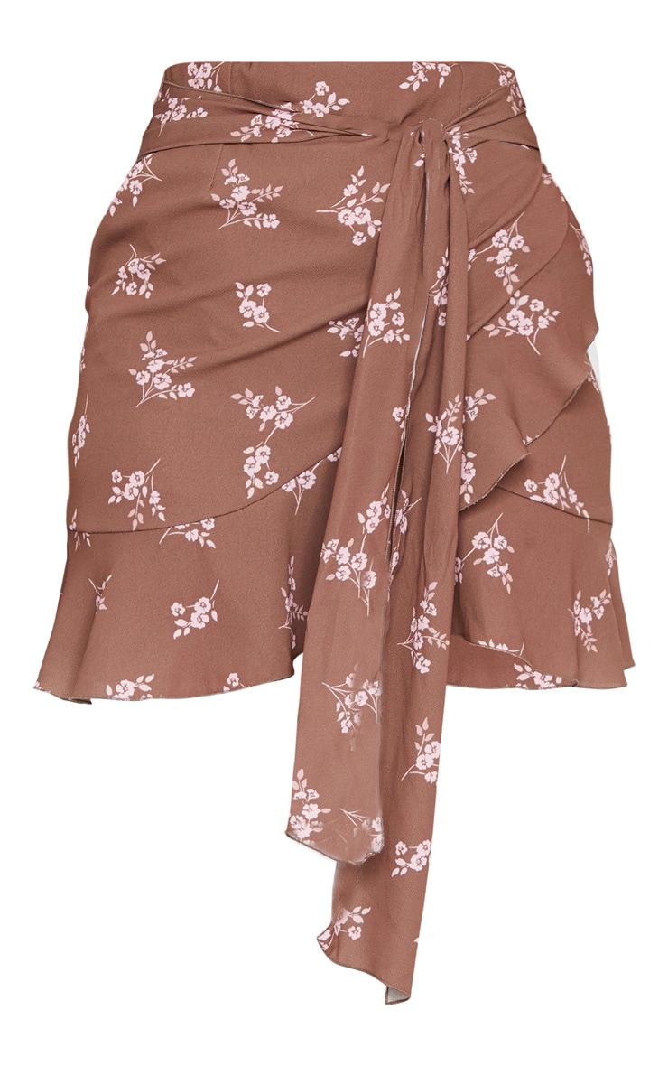 Brown Floral Print Tie Back Blouse 6
