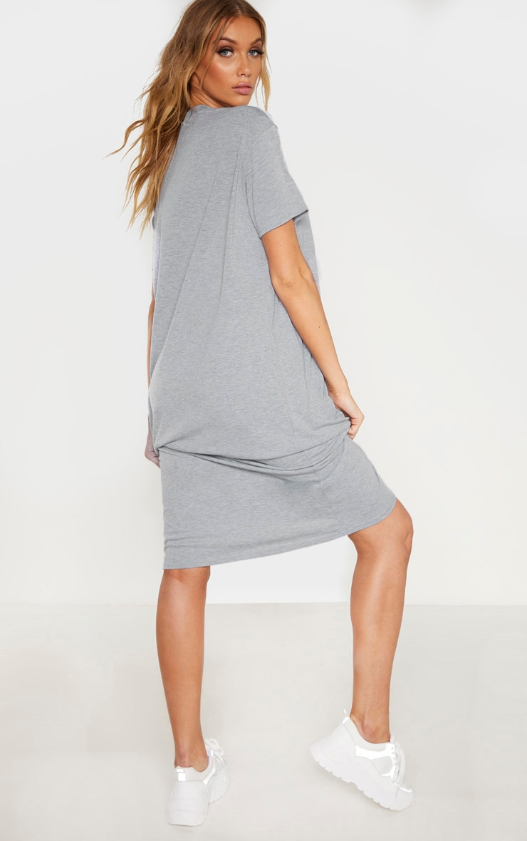 Tall Grey Marl Oversized Boxy Midi T-Shirt Dress 2