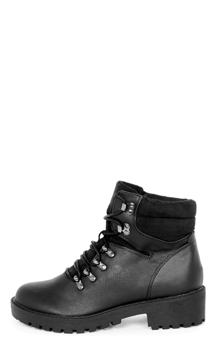 Hannah Black Lace Up Hiker Boot 1