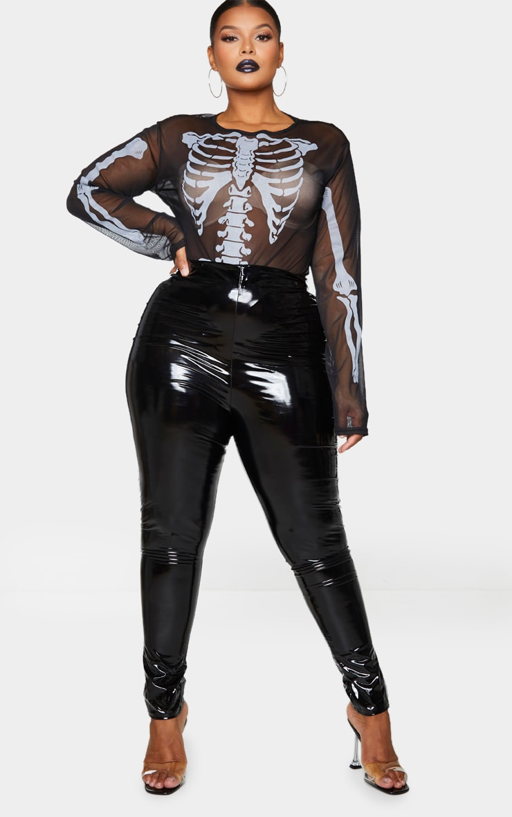 Plus Black Skeleton Print Sheer Mesh Bodysuit 1