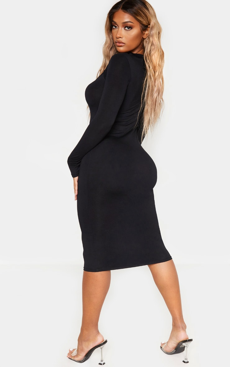 Shape Black Jersey Cut Out Long Sleeve Midi Dress 2