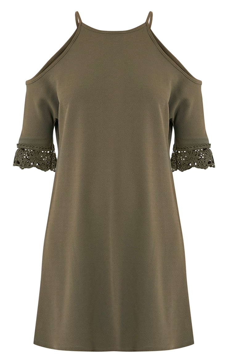 Christie Khaki Lace Trim Cold Shoulder Dress 3