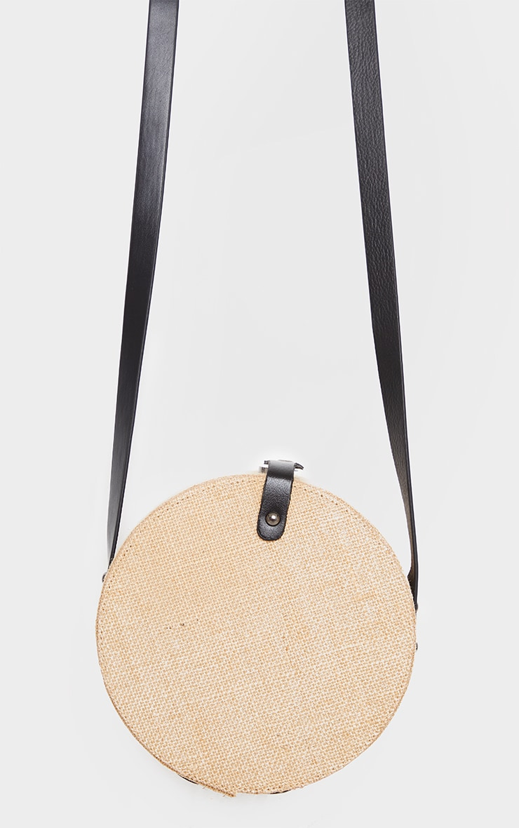 Natural Straw Round Cross Body Bag 2