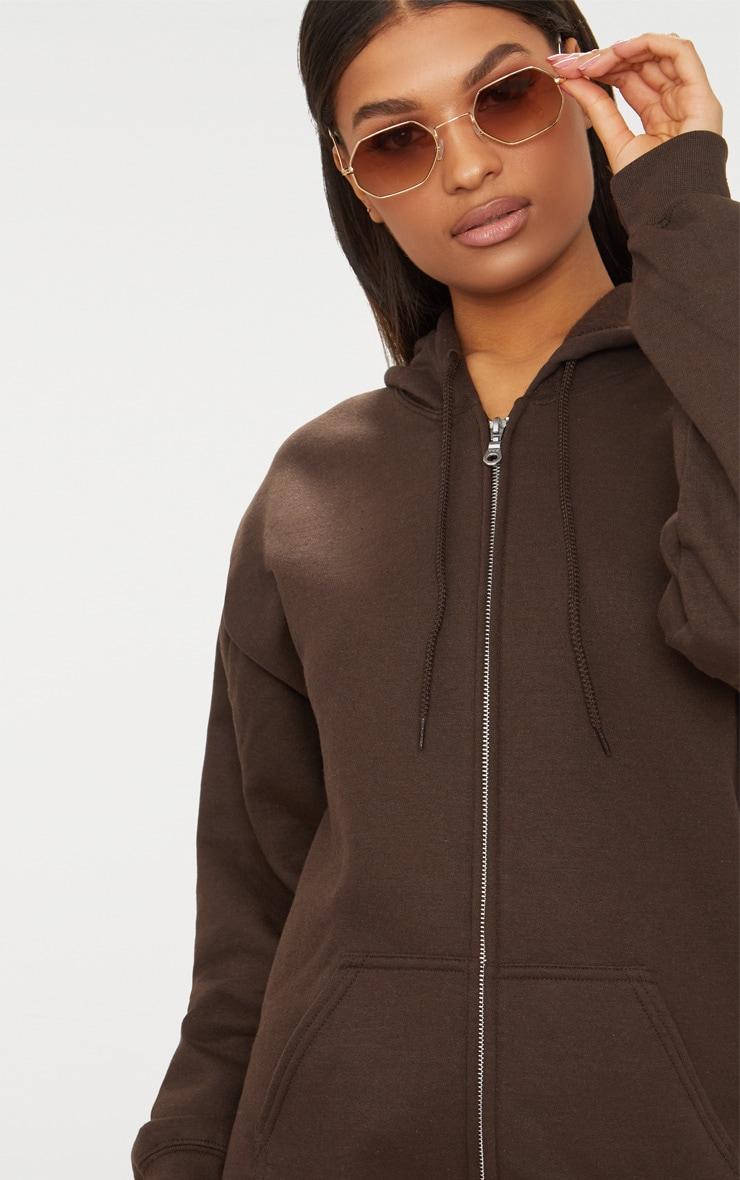 Brown Fleece Zip Hoodie 3