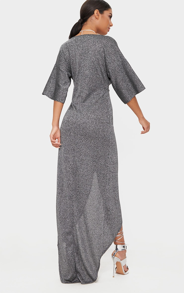 Silver Plunge Knot Detail Batwing Sleeve Extreme Split Maxi Dress 2