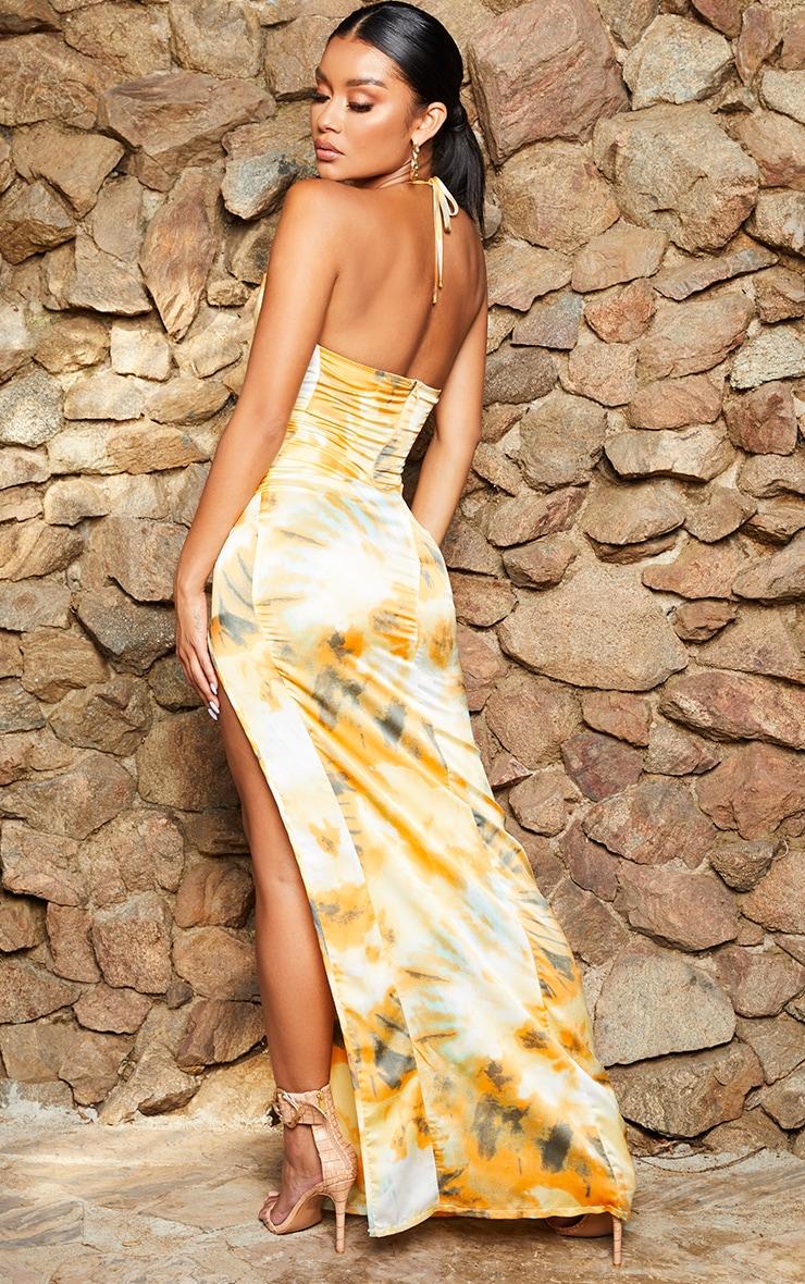 Orange Tie Dye Strappy Cowl Neck Maxi Dress 2