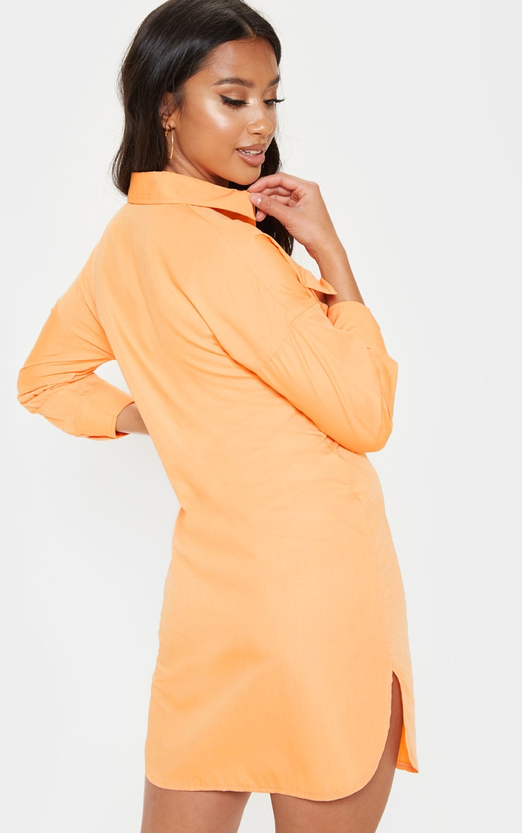 Petite Bright Orange Pocket Detail Shirt Dress 2