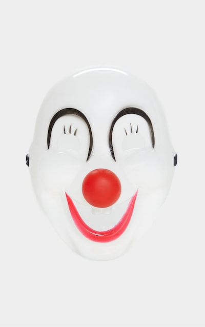 White Plastic Laughing Clown Mask