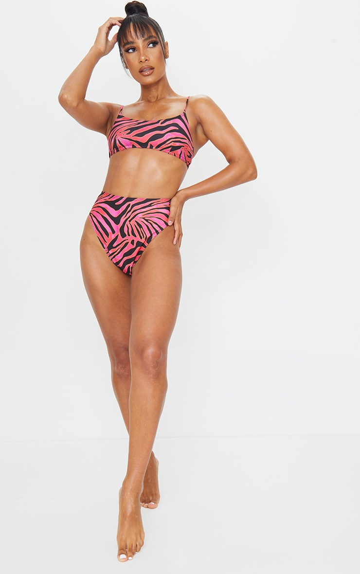 Hot Pink Zebra Print High Waist High Leg Bikini Bottom 4